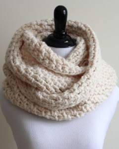 White Wool Cowl Scarf