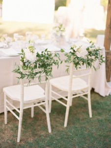 Chair decor foliage - Style Me Pretty